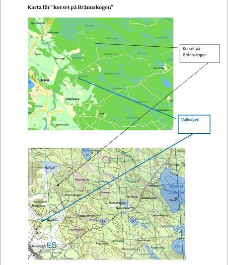 Korset i Brännskogen Karta